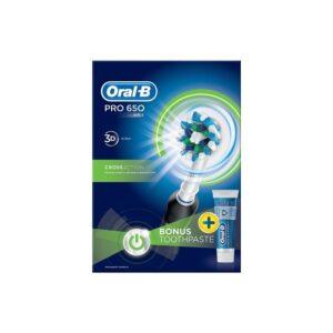 Oral-B Pro 650 Black Cross Action Electric Toothbrush Bundle